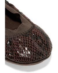 Yosi Samra | Brown Snake-effect Leather Ballet Flats | Lyst