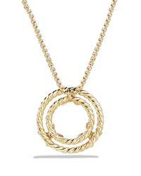 David Yurman | Metallic X Circle Pendant Necklace With Diamonds In 18k Yellow Gold | Lyst