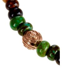 Luis Morais - Green Gold and Glass Bead Symbol Bracelet for Men - Lyst