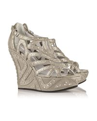 Camilla Skovgaard - Metallic Studded Leather Wedge Sandals - Lyst