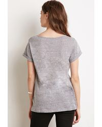Forever 21 - Gray Heathered Split-neck Tee You've Been Added To The Waitlist - Lyst