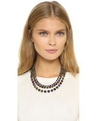 Erickson Beamon - Triple Layer Crystal Necklace - Purple/green/blue - Lyst