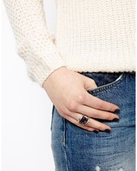ASOS - Purple Semi Precious Rectangular Stone Ring - Lyst