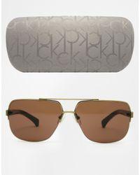 Calvin Klein - Metallic Ck Jeans Aviator Sunglasses for Men - Lyst
