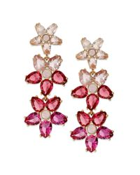 kate spade new york | Pink New York Goldtone Glass Stone Ombre Flower Drop Earrings | Lyst