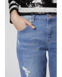 TOPSHOP - Blue Moto Ripped Lucas Boyfriend Jeans - Lyst