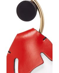 Marni   Red Leather Pendant Floral Earrings   Lyst