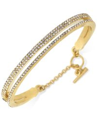 Vince Camuto | Metallic Gold-plated Two-layer Pave Bangle Bracelet | Lyst