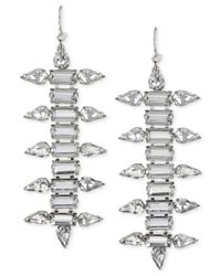 Steve Madden | Metallic Silver-tone Faceted Crystal Linear Earrings | Lyst