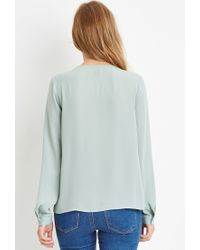 Forever 21 | Green Bow-front Blouse | Lyst