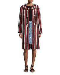 Étoile Isabel Marant - Red Belia Striped Long Blanket Coat - Lyst