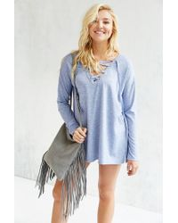 Silence + Noise | Blue Rex Lace-up Tunic Top | Lyst