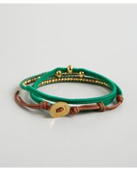 Chan Luu - Green Thread and Leather Skull Bead Wrap Bracelet - Lyst