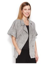 Eileen Fisher - Gray Asymmetrical-Button Boxy Jacket - Lyst