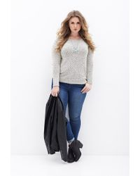 Forever 21 - Natural Plus Size Marled Knit Sweater - Lyst