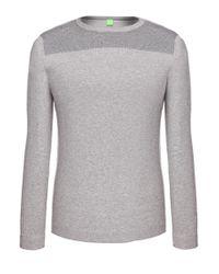 BOSS Green - Gray 'rall' | Stretch Cotton Blend Sweater for Men - Lyst