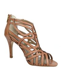 Adrienne Vittadini - Brown Gusty Leather Strappy Sandals - Lyst