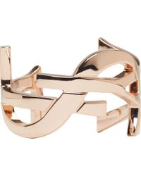 Saint Laurent - Pink Rose Gold Ysl Monogram Cuff - Lyst