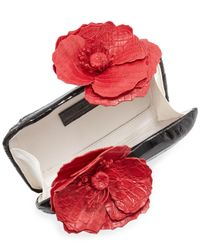 Nancy Gonzalez - Black Poppy Floral-Applique Crocodile Clutch Bag - Lyst