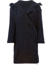 Etro - Blue Bouclé Fringed Coat - Lyst