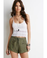 Forever 21 - Green Drawstring Cuffed Shorts - Lyst