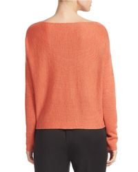 Eileen Fisher | Natural Bateau Neck Cropped Sweater | Lyst