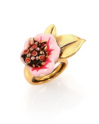 Oscar de la Renta | Metallic Painted Flower Ring | Lyst