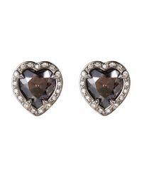 Swarovski | Black Silver-Tone Heart Earrings | Lyst