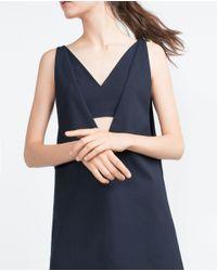 Zara | Blue Pinafore Dress | Lyst