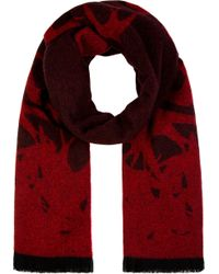 McQ - Red and Black Wool Swallow Silhouette Scarf for Men - Lyst