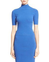 Autumn Cashmere   Blue Mock Neck Knit Crop Top   Lyst