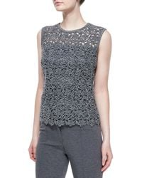 ESCADA - Gray Paneled Floral Lace Tank Top - Lyst