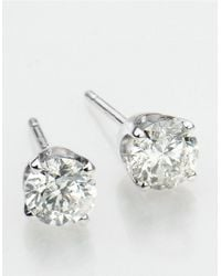 Lord & Taylor | Metallic Diamond And 14k White Gold Stud Earrings, 0.25 Tcw | Lyst