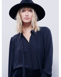 Free People | Black Modern Muse Tie Front Top | Lyst