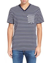 Psycho Bunny - Blue Stripe Pocket V-neck T-shirt for Men - Lyst