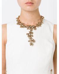 Oscar de la Renta | Metallic Cascading Flower Necklace | Lyst