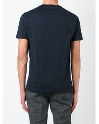 Emporio Armani - Blue Logo-Peint Cotton T-Shirt for Men - Lyst