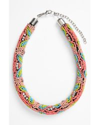 TOPSHOP - Pink Beaded Collar Necklace - Lyst
