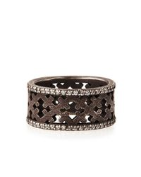 Katie Design Jewelry | Gray Ebonized Silver Crosses Band Ring With Diamonds | Lyst