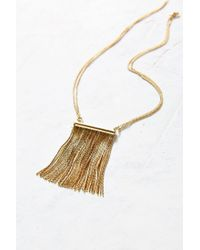 Urban Outfitters - Metallic Showstopper Short Fringe Necklace - Lyst