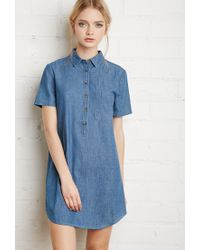 Forever 21 - Blue Denim Shirt Dress - Lyst