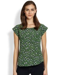 Joie | Green Rancher Printed Silk Blouse | Lyst