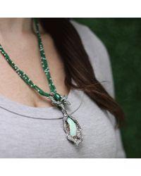 Arunashi | Green Emerald And Opal Flower Necklace | Lyst