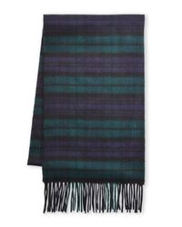 Johnstons - Blue 100% Cashmere Plaid Scarf for Men - Lyst
