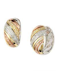 Effy | Pink Diamond, 14k White, Yellow And Rose Gold Swirl Hoop Earrings | Lyst