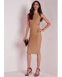 Missguided - Natural Crepe Sleeveless Cut Out Midi Dress Camel - Lyst