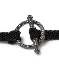 Yuvi Black Diamond Silver and Woven Cord Bracelet for men