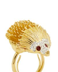Kenneth Jay Lane | Metallic Hedgehog Crystal Ring | Lyst