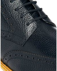 ASOS | Black Brogue Boots in Leather for Men | Lyst