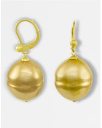 Majorica | Metallic 18k Gold Over Sterling Silver Earrings, Imitation Baroque Pearl | Lyst